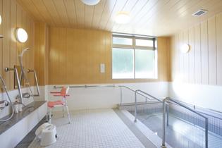 手すりも完備され、流し場には足腰に負担がかからない様に椅子が置かれた大浴場